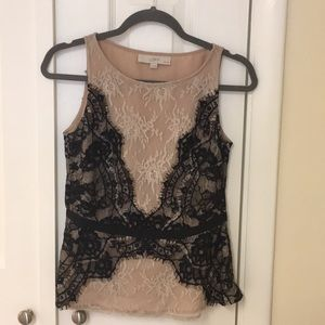 Ann Taylor Loft lace top with bow belt.